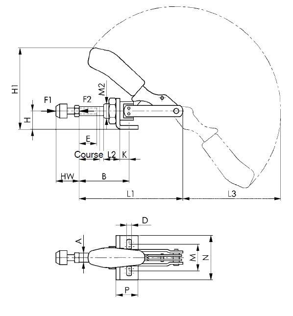 dessin technique sauterelle à tige coulissante amf 6841
