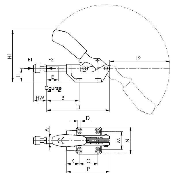 dessin technique sauterelle à tige coulissante lourde amf 6842