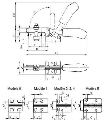 dessin technique sauterelle horizontale amf 6830