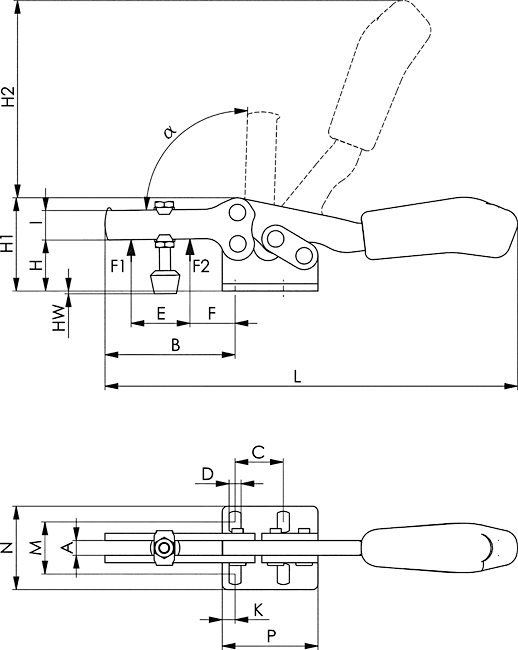 dessin technique sauterelle horizontale amf 68300