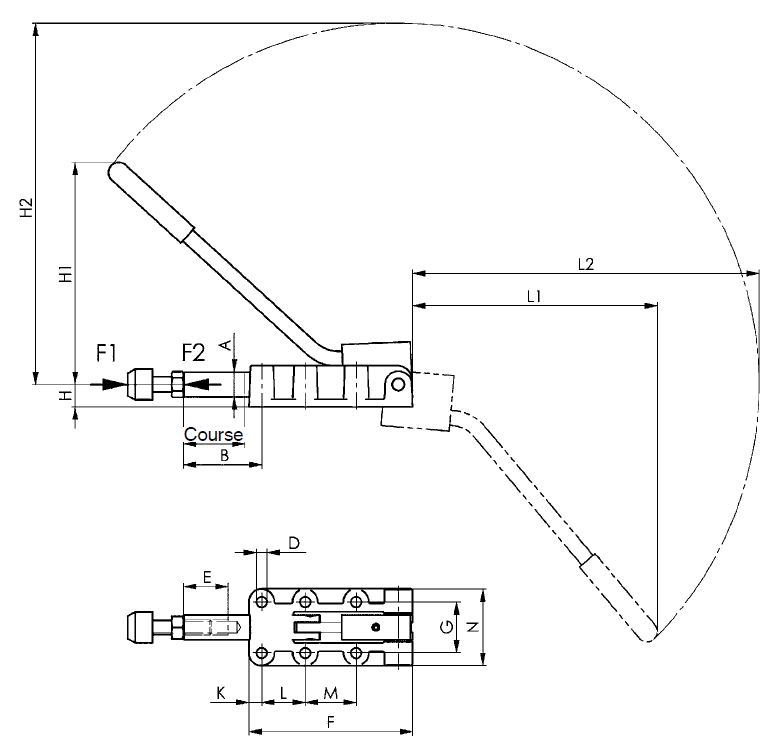 dessin technique sauterelle lourde avec poignée démontable amf 6842PL