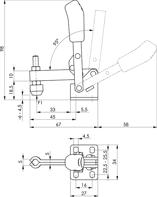 dessin technique sauterelle verticale amf 6805