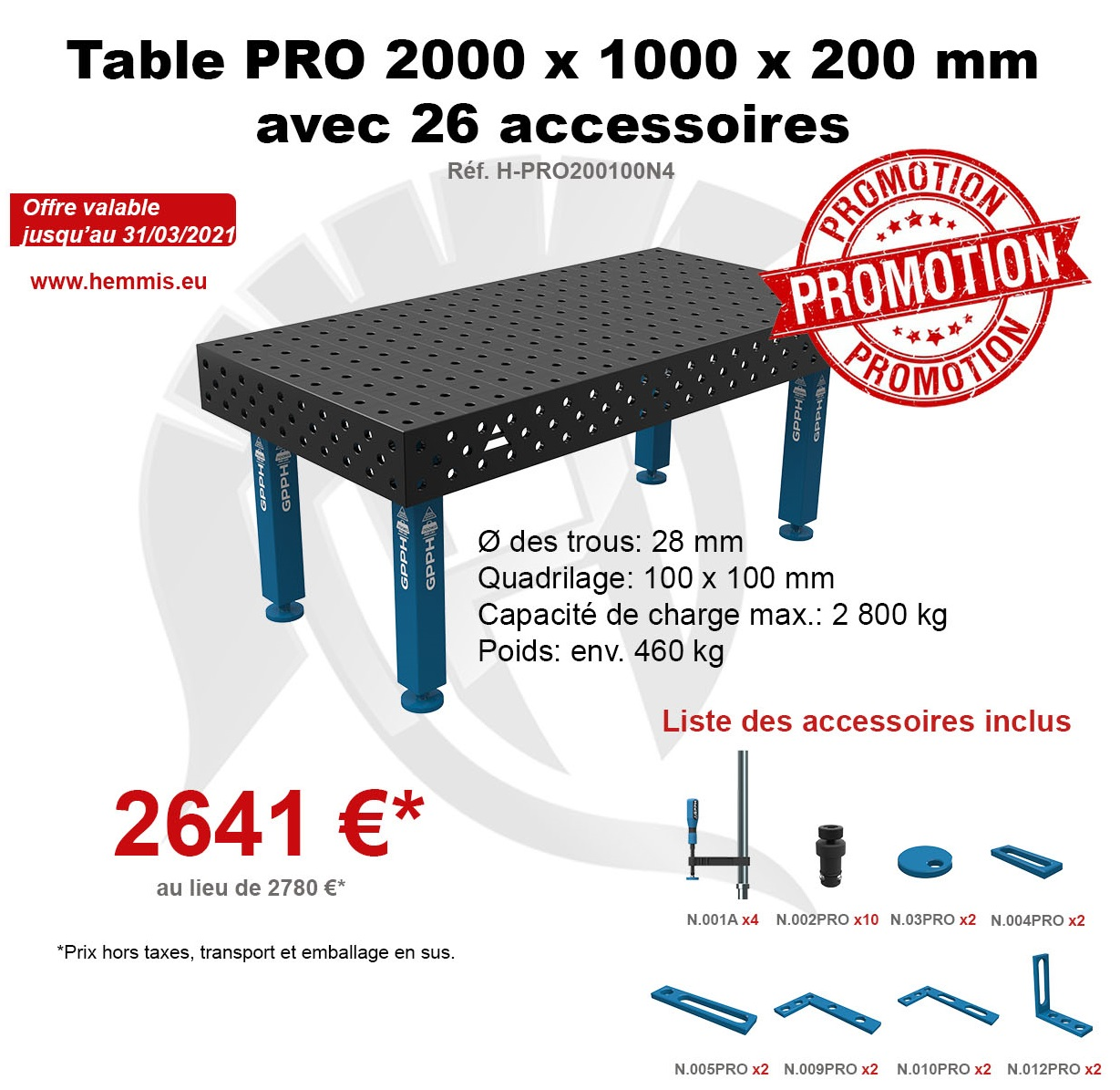 promotion table PRO 1er trimestre