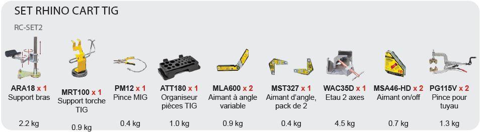 set d'accessoires tig rhino cart rc-set2
