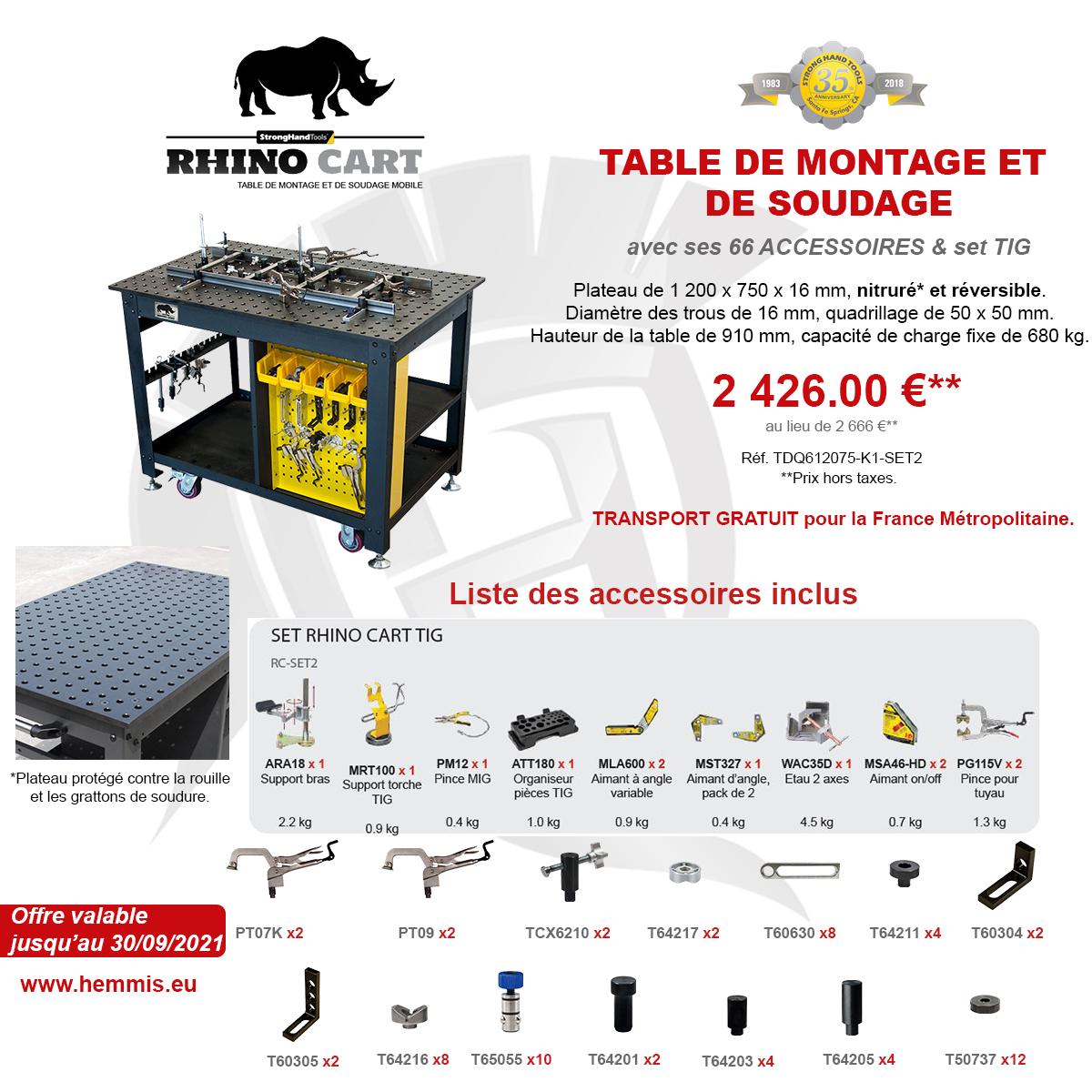 promotion Rhino Cart TIG 3eme trimestre 2021